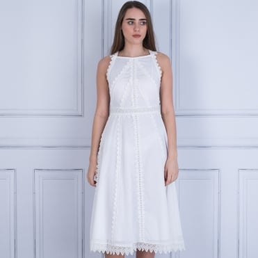 Marc Cain Embroided Ribbon Lace Detail Dress White