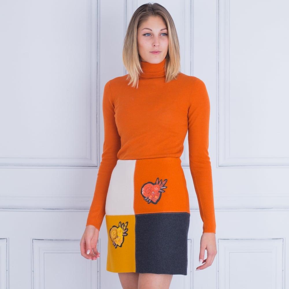 f5421ac30e859b 00120742 Marc Cain Fine Polo Neck Jumper In Orange