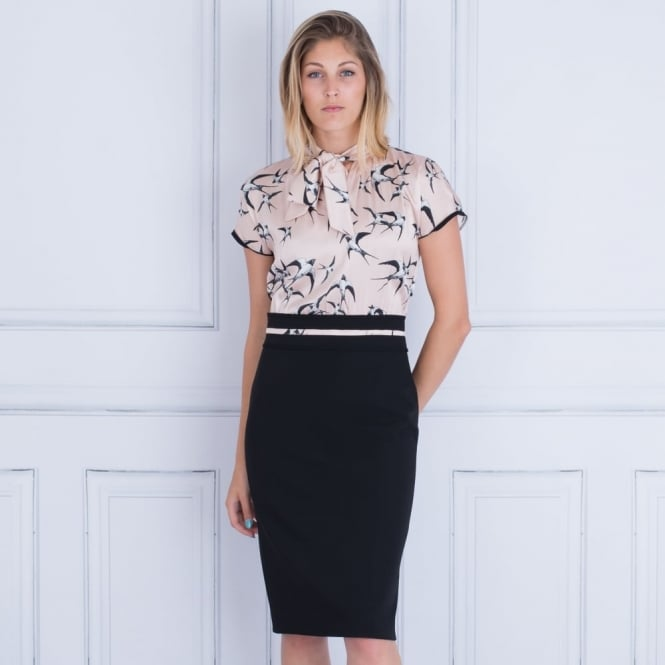 MARC CAIN Fitted Dress With Satin Top & Cupro Skirt Nude & Black