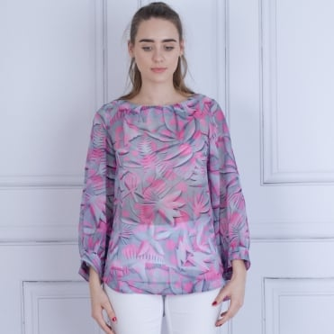 Oversized Cotton Blouse In Grey/Pink