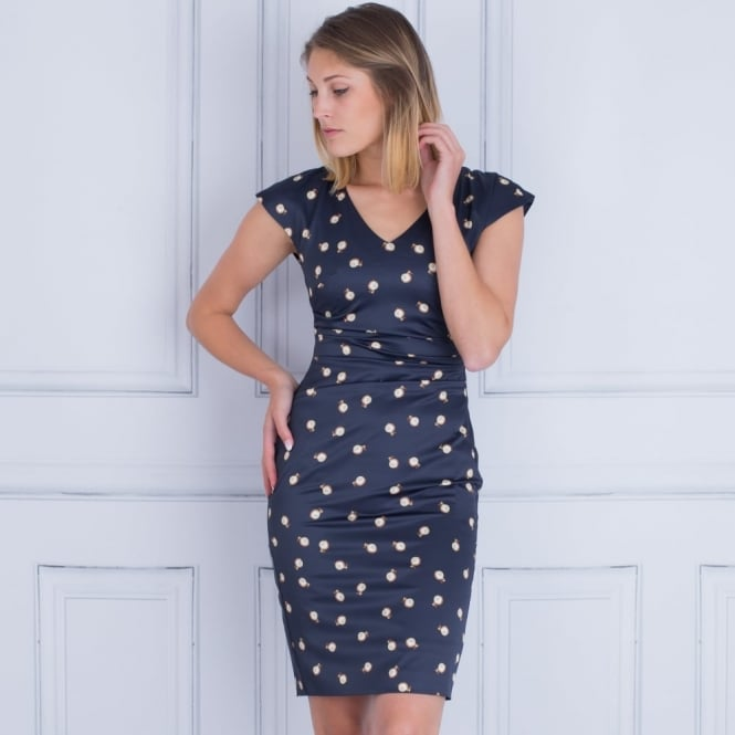 MARC CAIN Pearl Print Satin Side Gathered Dress In Navy