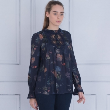 Pleat Neck Embroidered Floral Blouse In Navy & Orange