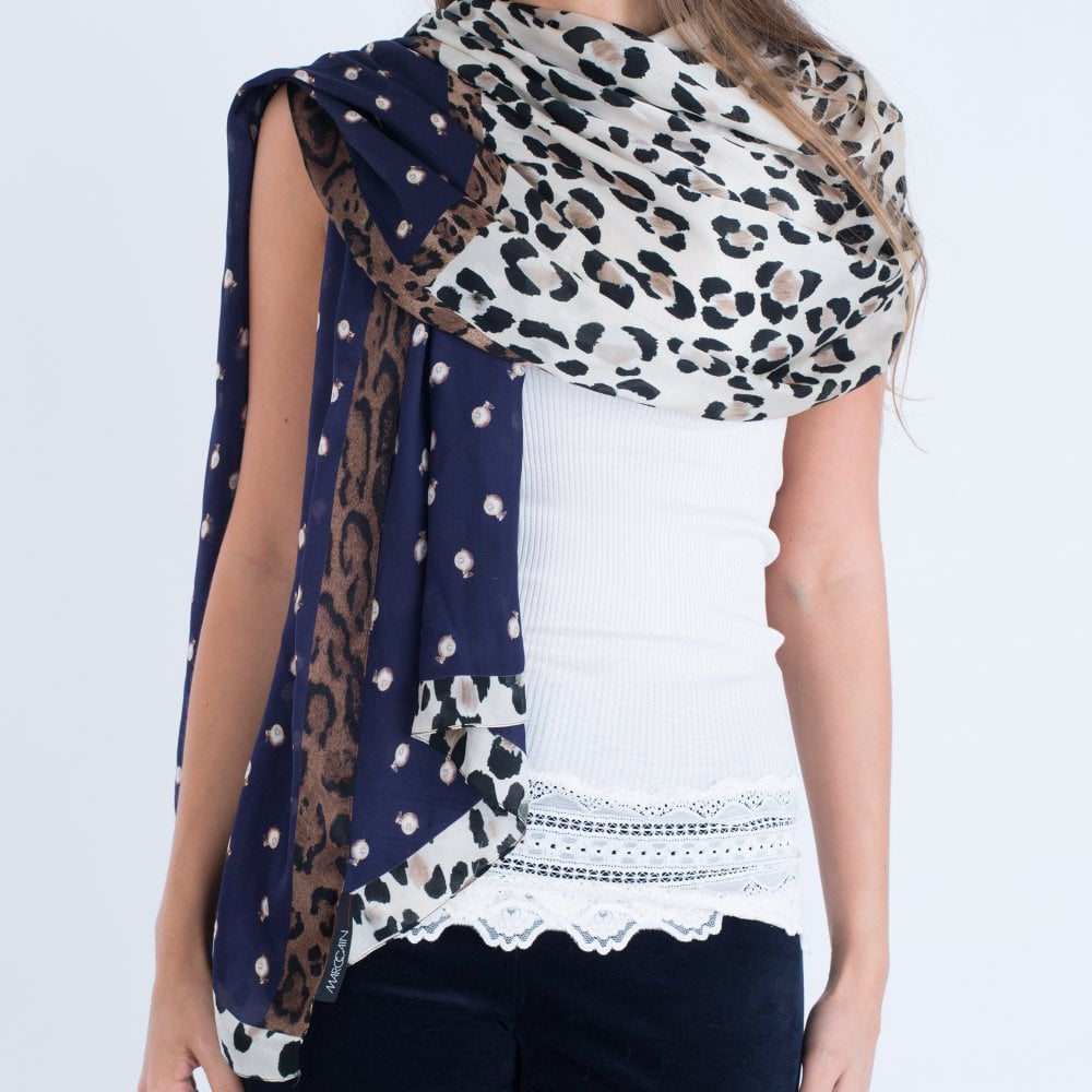 a038b348797c Marc Cain Scarf Leopard And Pearl Print Navy HC B4.15 Z34