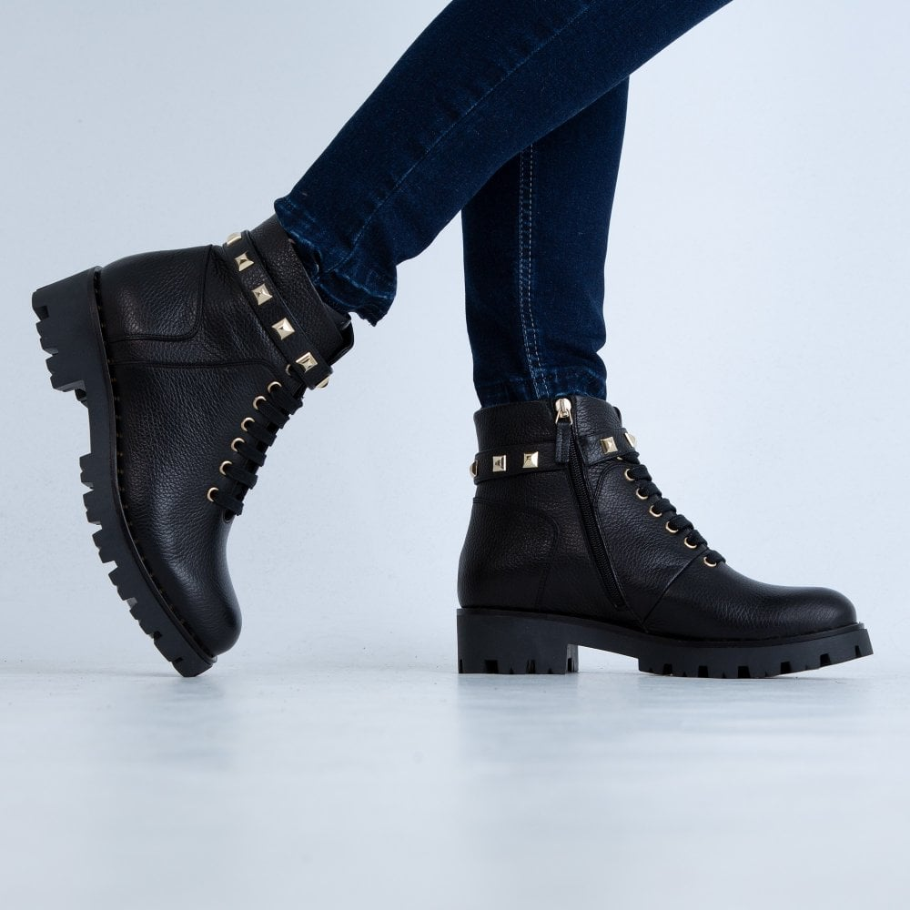 Marc Cain Shoes Studded Lace Up Biker Boot Black Sister Online Sheffield