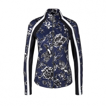 Floral Sport Jacket With Side Stripe Blue & White