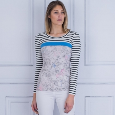 Round Neck Long Sleeve Stripe Top In Multi