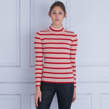 Stripe Polo Neck Jumper In Nude & Red
