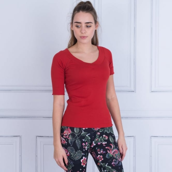 MARC CAIN SPORT Sweatheart Neck Cotton Rib Top In Red