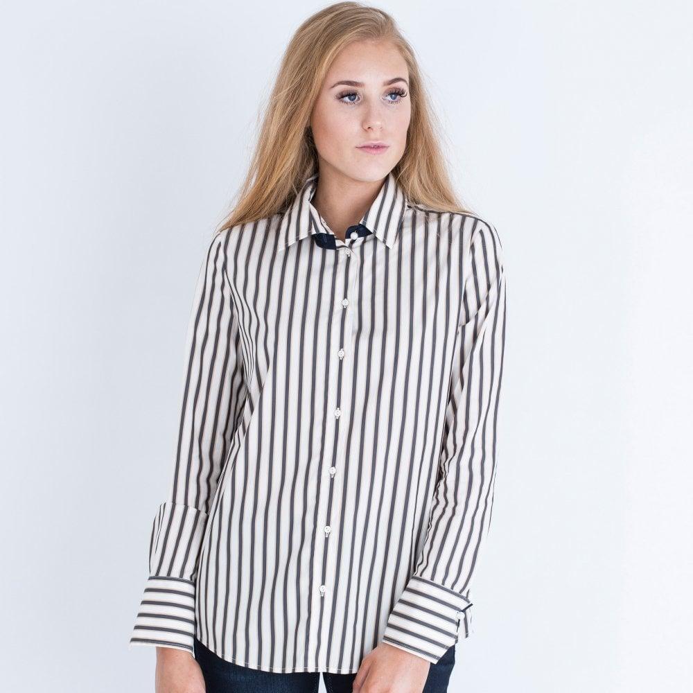 79a6098fa8fd4 Stripe Cotton Shirt Cream