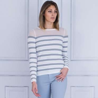 Stripe & Mesh Panel Jumper In White & Lilac