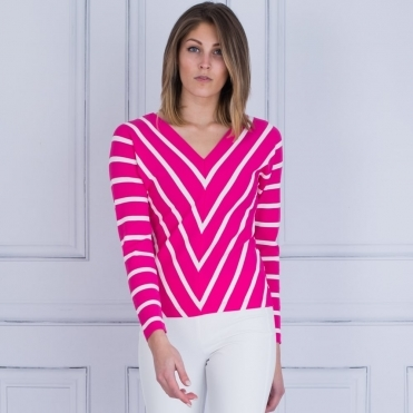 Stripe V Neck Knitted Jumper In Fuchsia Pink