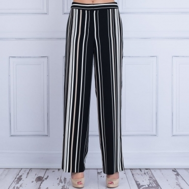 Stripe Wide Leg Pant In Black & Beige