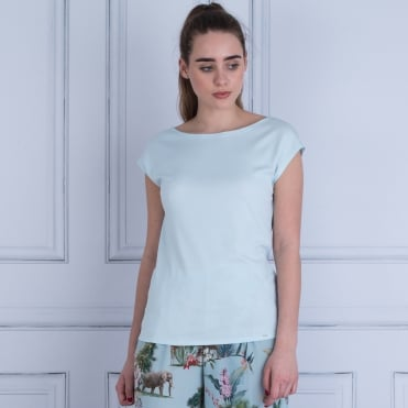 Marc Cain T Shirt Slight Cap Sleeve Baby Blue