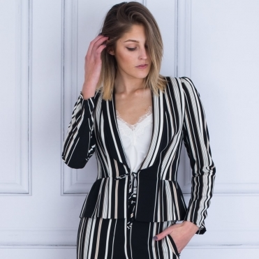 Tie Waist Stripe Jacket With Peplum In Black & Beige