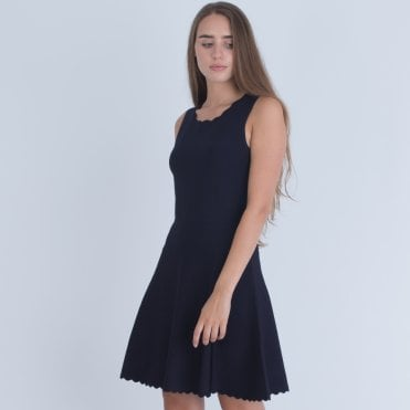 00b44d10a85 Marciano Scalloped Hem And Neck Fit And Flare Dress Navy