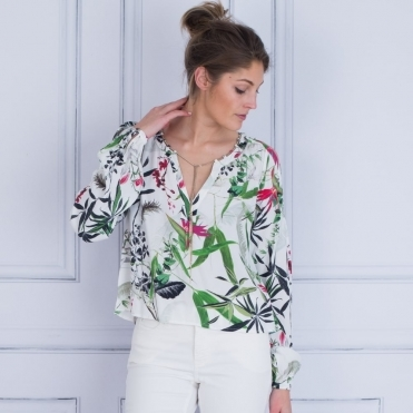 Tropical Palm Print Chain Tie Neck Blouse In White & Green
