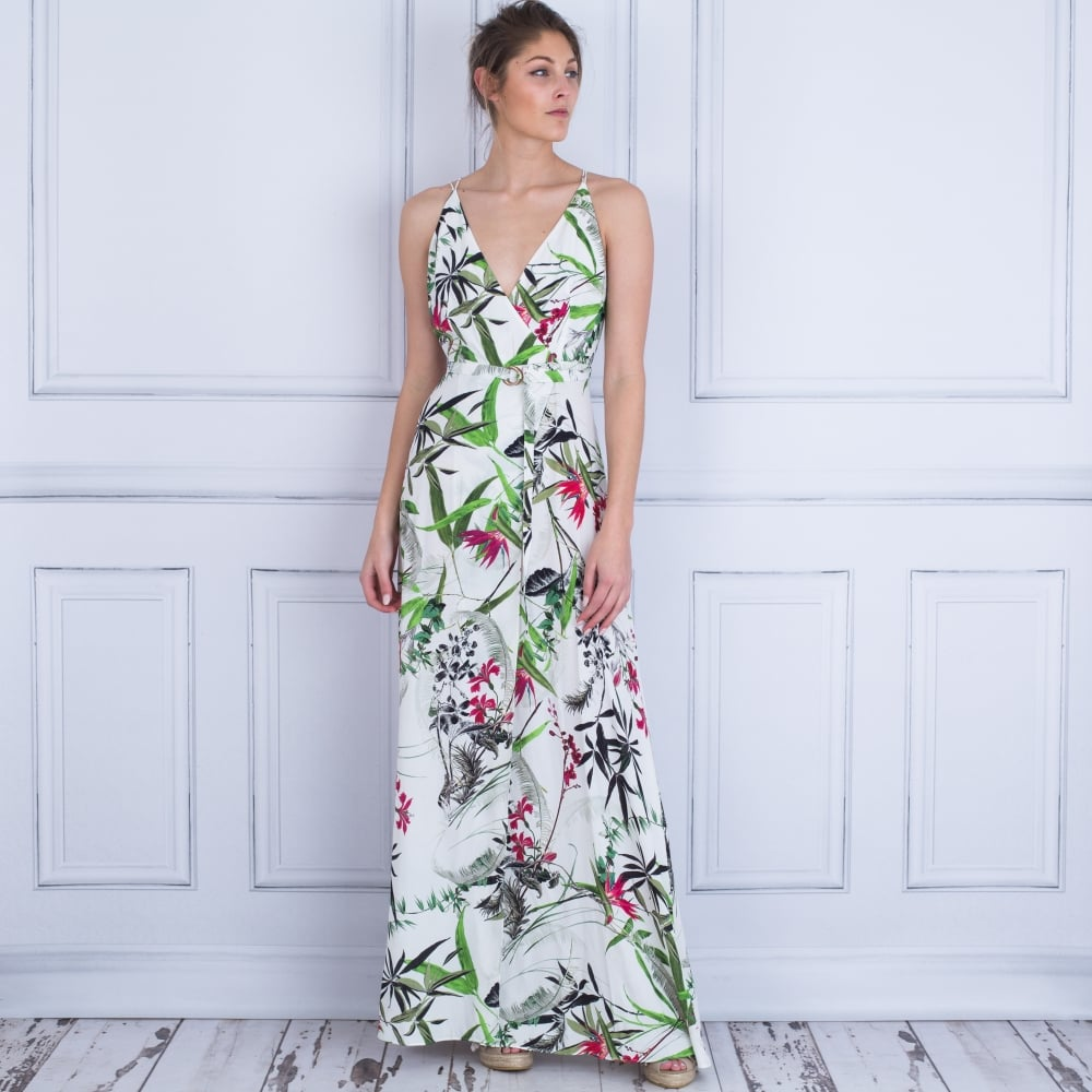 dab2b8ed48 Marciano Tropical Palm Print Wrap Maxi Dress White/Green