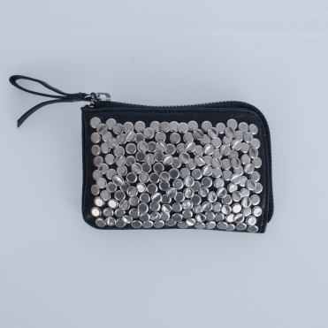 Eliza Small Studded Zip Purse In Black