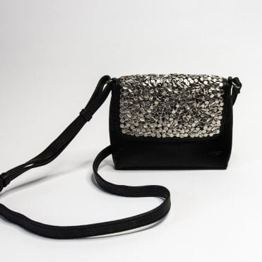 Haley Studded Leather Cross Body Bag In Black