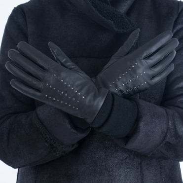Markberg Kia Leather Studded Glove With Knitted Cuff in Black