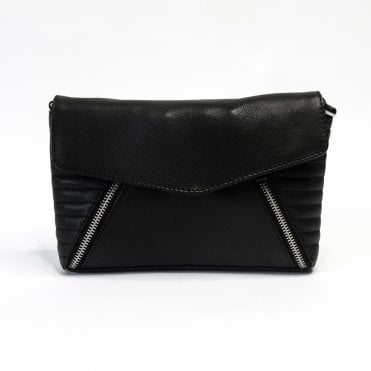 Sofiah Quilted And Zip Detail Cross Body Bag In Black