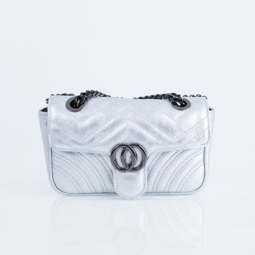 29d7469ecf1f Marlon Quilted Metallic Evening Bag With Chain Silver