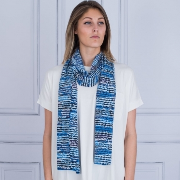 Along Patterned Scarf In Navy & Blue