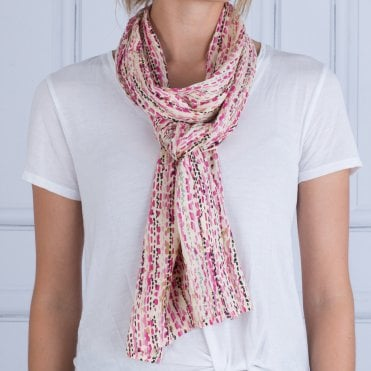 Masai Along Rose Print Scarf Dove/pink