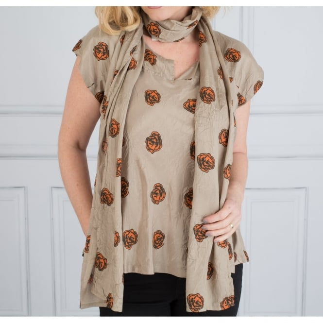 MASAI Along Rose Scarf In Taupe, Marigold & Black
