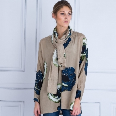 Masai Along Scarf Blown Floral Print in Indigo & Taupe