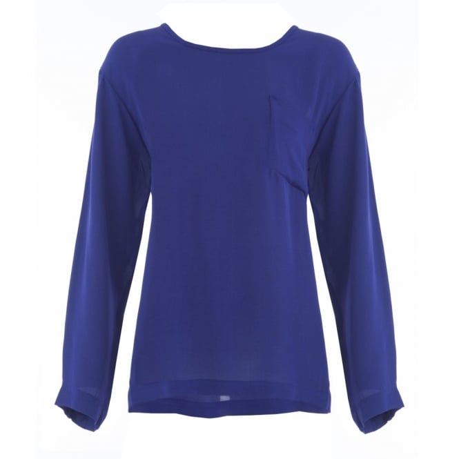 MASAI Basia Plain Round Neck A Shape Blouse with Pocket Detail in Purple
