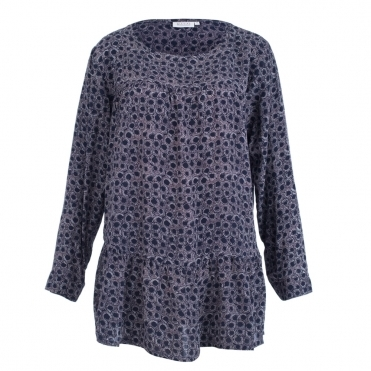 Blottis Long Sleeved Top With Gathered Front And Frill In Navy 992e679f0