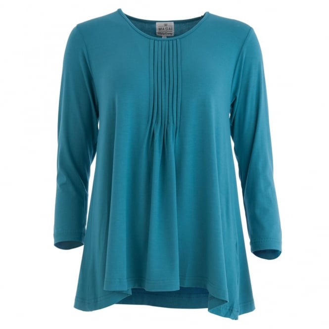 MASAI Bluma Long Sleeve Pleated Front Jersey Top in Peacock Blue