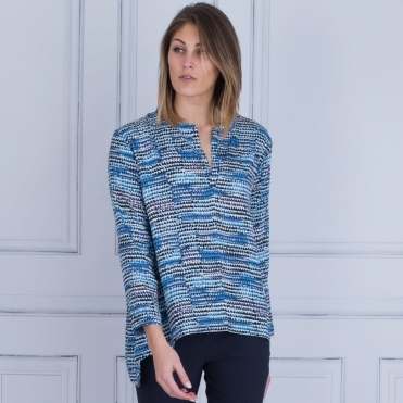 Daleka A Shape Top With Split Front In Navy & Blue