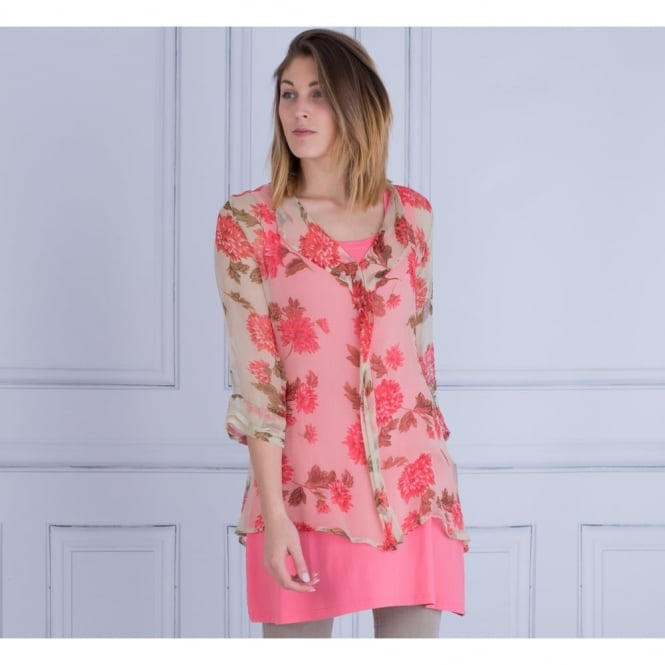 MASAI Dani Georgette Floral Print Blouse In Sage & Lychee