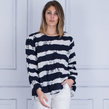 Deane A Shape Pleat Back In Top Navy & White Stripe