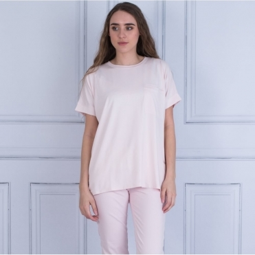 Dorianna Oversized Pocket Front T Shirt In Baby Pink