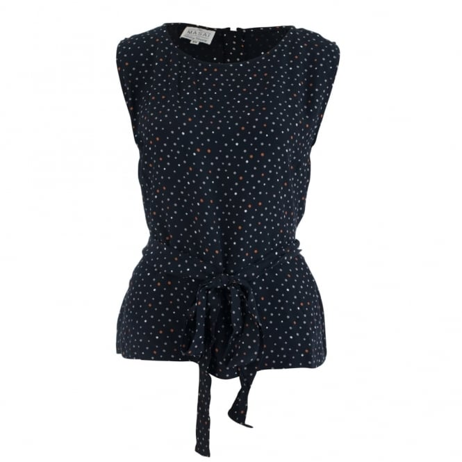 MASAI Enolta Sleeveless Tie Waist Blouse With Spot Print In Marigold & Black