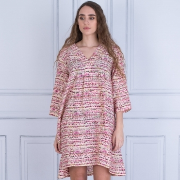 Geanis Tunic Dress Mottled Spot Print In Pink/Vanilla