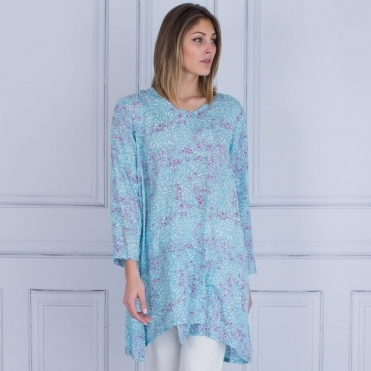 Gilda A Shape Printed Tunic In Aqua