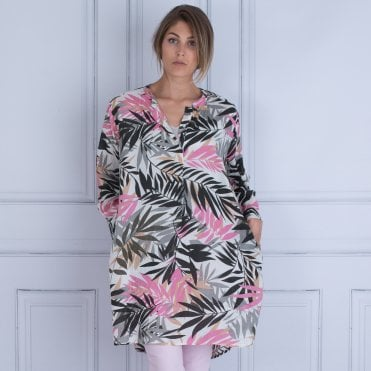 Masai Glow Palm Leaf Print Tunic Pink/grey/black