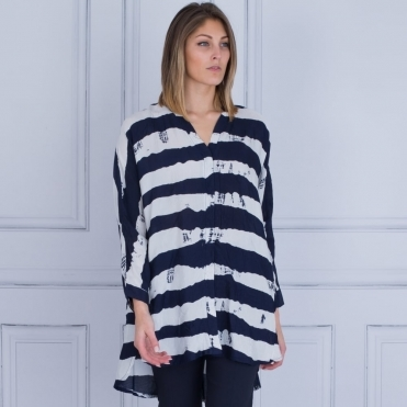 Ife Pleated Button Blouse In Navy & White Stripe