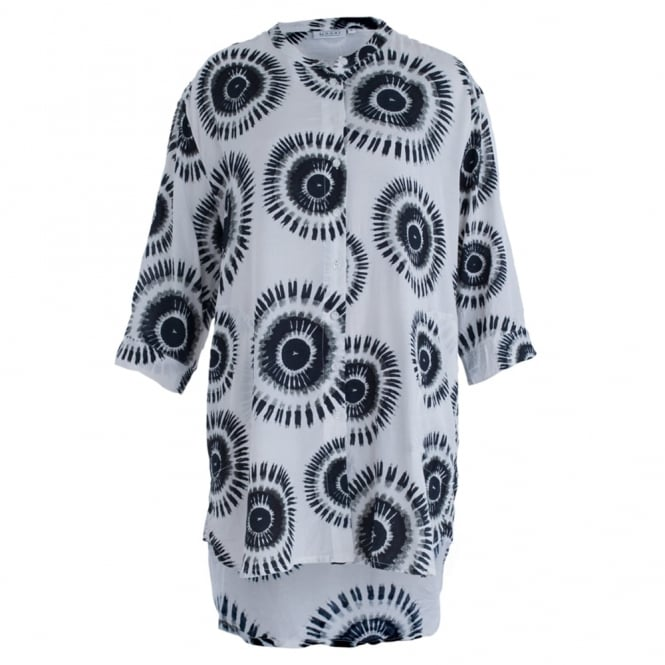 MASAI Igerna Button Front Oversize Tunic Blouse In White & Black