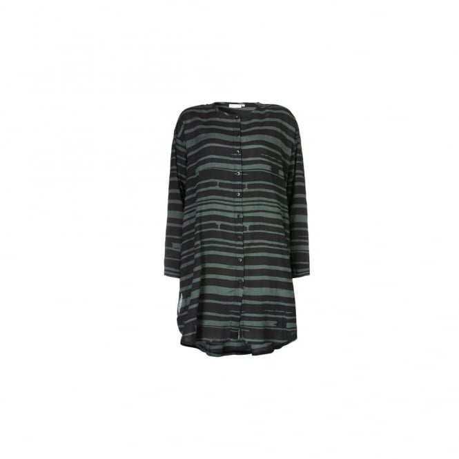 MASAI Ines Abstract Stripe Shirt With Pleat Back In Black & Green