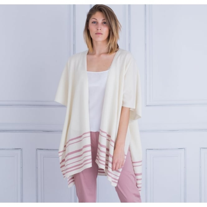 MASAI Lachima Edge To Edge Boiled Wool Cape With Stripe Hem In Pink & Cream