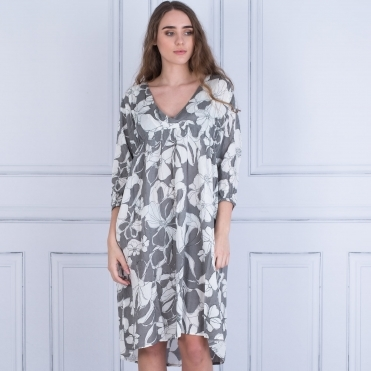 Masai Nadia V Neck Gathered Front Floral Print Dress Dove