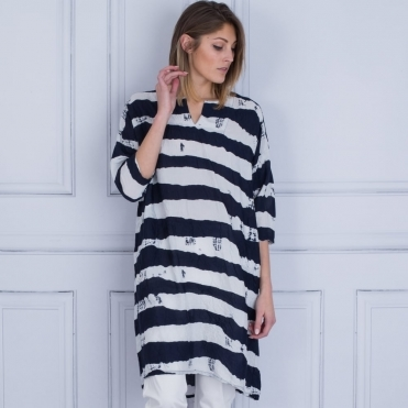 Nelsa Oversize Back Pleat Tunic In Navy & White Stripe