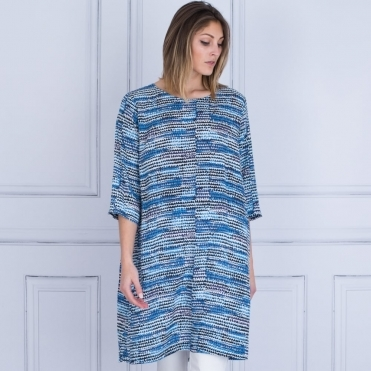 Nikita A Shape Printed Dress In Navy & Blue