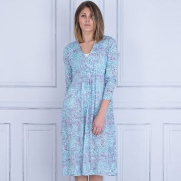 Norina Empire Line Printed Dress In Aqua