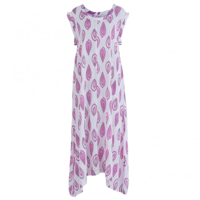 MASAI Ocisa Long A Shape Leaf Print Dress In White & Pink